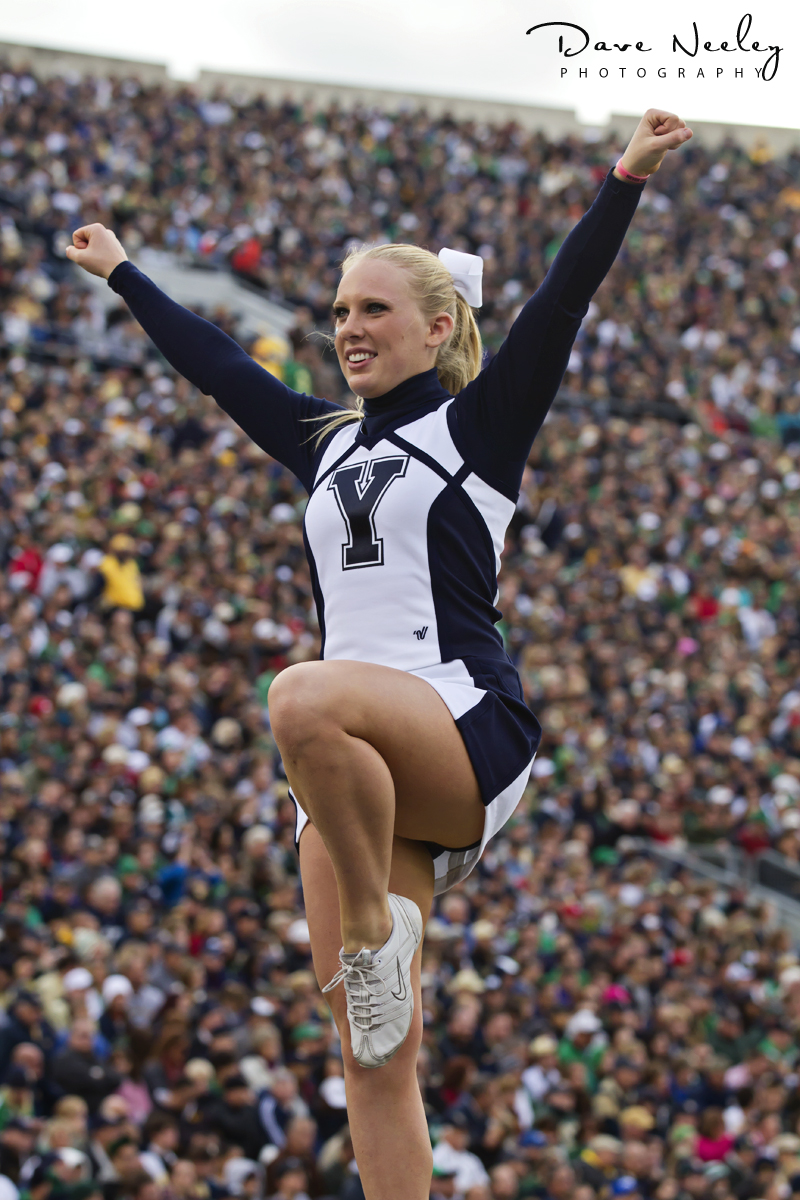 BYU Cheerleader at Notre Dame Stadium